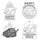 Ο διανυσματικός τρύγος ημέρας των ευχαριστιών logotypes έθεσε απεικόνιση αποθεμάτων