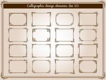 Ο διανυσματικός τρύγος διακοσμήσεων ακμάζει τα πλαίσια με τα κομψά στοιχεία γωνιών στροβίλου και κυλίνδρων απεικόνιση αποθεμάτων