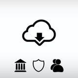 Ο διανυσματικός υπολογισμός σύννεφων μεταφορτώνει το εικονίδιο, διανυσματική απεικόνιση επίπεδος Στοκ εικόνες με δικαίωμα ελεύθερης χρήσης