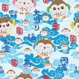 Ο ιαπωνικός τυχερός ουρανός κουκουβαγιών ευλογεί το άνευ ραφής σχέδιο Στοκ Εικόνες