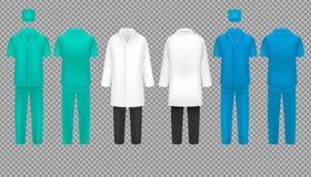 Ο ιατρός ομοιόμορφος, το παλτό νοσοκόμων νοσοκομείων και ο χειρούργος ταιριάζουν, διανυσματικό σύνολο εργαστηριακών πουκάμισων πο ελεύθερη απεικόνιση δικαιώματος