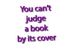 Ο ιδιωματισμός απεικόνισης γράφει ότι μπορείτε δικαστής ` τ ένα βιβλίο από την κάλυψή της ISO διανυσματική απεικόνιση