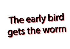 Ο ιδιωματισμός απεικόνισης γράφει ότι το πρόωρο πουλί παίρνει το απομονωμένο σκουλήκι ι απεικόνιση αποθεμάτων