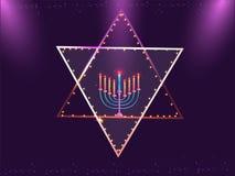 Ο ιερός Δαβίδ Star διακόσμησε με τις φωτισμένες λάμπες φωτός με το cand ελεύθερη απεικόνιση δικαιώματος