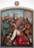 Ο Ιησούς πέφτει την πρώτη φορά, 3$οι σταθμοί του σταυρού Στοκ εικόνες με δικαίωμα ελεύθερης χρήσης