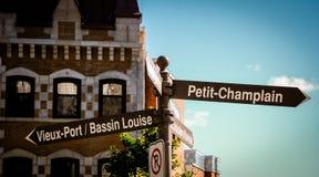 Οδικά σημάδια στην πόλη Καναδάς του Κεμπέκ Στοκ φωτογραφίες με δικαίωμα ελεύθερης χρήσης