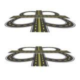 Οδική ανταλλαγή Εθνική οδός με τα κίτρινα σημάδια στην προοπτική Απεικόνιση: Στοκ Εικόνες