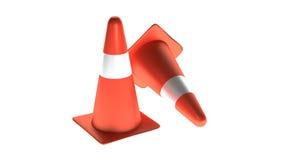 Οδική ασφάλεια κώνων κυκλοφορίας τρισδιάστατη στο άσπρο υπόβαθρο απεικόνιση αποθεμάτων