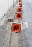οδική καθορισμένη κυκλοφορία περιφράξεων κώνων χρώματος Στοκ Εικόνες