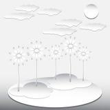 οδικός ήλιος εγγράφου τοπίων σύννεφων απεικόνιση αποθεμάτων