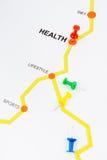 Οδικός χάρτης στην έννοια υγείας στοκ εικόνα