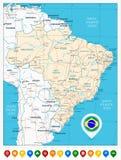 Οδικός χάρτης της Βραζιλίας και των έγχρωμων δεικτών χαρτών Στοκ Εικόνες