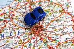 Οδικός χάρτης της Γαλλίας με το αυτοκίνητο Στοκ εικόνα με δικαίωμα ελεύθερης χρήσης