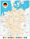 Οδικός χάρτης της Γερμανίας και των έγχρωμων δεικτών χαρτών Στοκ φωτογραφίες με δικαίωμα ελεύθερης χρήσης