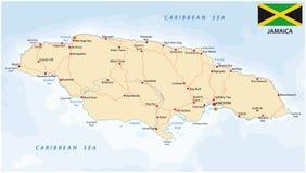Οδικός χάρτης της Τζαμάικας με τη σημαία ελεύθερη απεικόνιση δικαιώματος