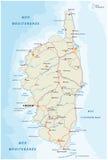 Οδικός χάρτης του γαλλικού μεσογειακού νησιού Κορσική ελεύθερη απεικόνιση δικαιώματος