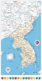 Οδικός χάρτης χερσονήσων της Κορέας και δείκτες χαρτών, Βορράς και Νότος Kore Στοκ εικόνα με δικαίωμα ελεύθερης χρήσης