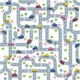 Οδικό άνευ ραφής σχέδιο με τα αστεία αυτοκίνητα Στοκ Εικόνα
