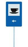Οδικό σημάδι εστιατορίων στο μετα πόλο, κυκλοφορία roadsign, απομονωμένο μπλε φλυτζάνι τσαγιού καφέ τομέα εστιάσεως καφετερίων κα Στοκ Φωτογραφία