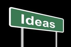 Οδικό σημάδι ιδεών στο Μαύρο Στοκ Εικόνες