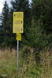 Οδικό σημάδι, κατεύθυνση στις διαφορετικές θέσεις, χρυσές γέφυρες Στοκ εικόνες με δικαίωμα ελεύθερης χρήσης