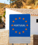Οδικό σημάδι στα σύνορα, Πορτογαλία Στοκ Εικόνες