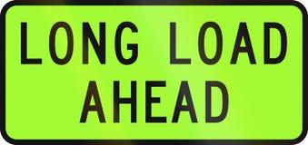 Οδικό σημάδι της Νέας Ζηλανδίας - όχημα πέρα-διάστασης που μεταφέρει ένα πρόσθετο μακροχρόνιο φορτίο μπροστά Στοκ φωτογραφία με δικαίωμα ελεύθερης χρήσης