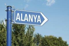 Οδικό σημάδι Antalya Τουρκία Alanya Στοκ Φωτογραφίες