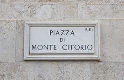 Οδικό σημάδι Citorio Monte, Ρώμη Στοκ εικόνα με δικαίωμα ελεύθερης χρήσης