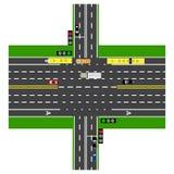 Οδικό infographics Μεγάλη διατομή εθνικών οδών με το δρόμο Με τα αυτοκίνητα και τους φωτεινούς σηματοδότες Στοκ Φωτογραφία