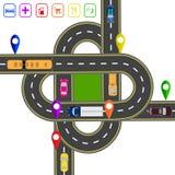 Οδικό infographics Σημειωμένος στο διάφορο χάρτη αντικειμένων Αφηρημένη πλήμνη μεταφορών Οι διατομές των διάφορων δρόμων Στοκ Εικόνα
