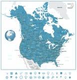Οδικών χαρτών και ναυσιπλοΐας των ΗΠΑ και του Καναδά εικονίδια Στοκ φωτογραφία με δικαίωμα ελεύθερης χρήσης