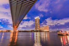 Ο λιμένας, η αποβάθρα και η γέφυρα στη Μπανγκόκ, Ταϊλάνδη Στοκ εικόνα με δικαίωμα ελεύθερης χρήσης