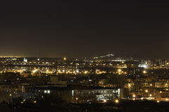 Ο λιμένας ποταμών του Μόντρεαλ ανάβει τη νύχτα Στοκ φωτογραφία με δικαίωμα ελεύθερης χρήσης
