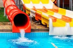 Ολισθαίνοντες ρυθμιστές Aquapark Στοκ εικόνες με δικαίωμα ελεύθερης χρήσης