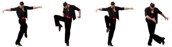 Ο ισπανικός χορευτής σε διάφορο θέτει στο λευκό Στοκ Εικόνες