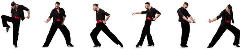 Ο ισπανικός χορευτής σε διάφορο θέτει στο λευκό Στοκ φωτογραφία με δικαίωμα ελεύθερης χρήσης