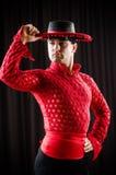 Ο ισπανικός χορός χορού ατόμων στον κόκκινο ιματισμό στοκ φωτογραφίες
