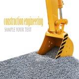 Ο κάδος εκσκάπτει το αμμοχάλικο στο εργοτάξιο οικοδομής στοκ φωτογραφία με δικαίωμα ελεύθερης χρήσης
