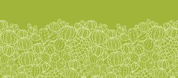 Ο κάκτος φυτεύει το οριζόντιο άνευ ραφής σχέδιο Στοκ Εικόνες