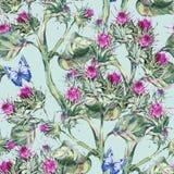 Ο κάρδος Watercolor seamles διαμορφώνει με τις μπλε πεταλούδες, άγρια λουλούδια, χορτάρια λιβαδιών διανυσματική απεικόνιση