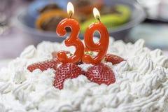 39ο κέικ γενεθλίων Στοκ Εικόνα