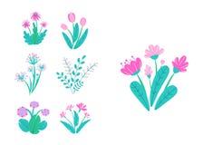 Ο κήπος άνοιξη ανθίζει το διάνυσμα Απλή απεικόνιση ανθοδεσμών εγκαταστάσεων Στοιχεία φύσης άνοιξης μόδας που απομονώνονται στο λε διανυσματική απεικόνιση
