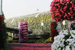 Ο κήπος παγκόσμιων ` s μεγαλύτερος φυσικός λουλουδιών Δομή που διαμορφώνει τη μορφή του airbus A380 Στοκ φωτογραφίες με δικαίωμα ελεύθερης χρήσης