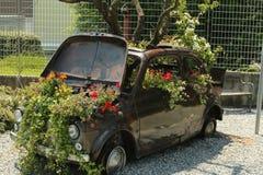 Ο κήπος της παλαιάς Φίατ 500 Στοκ εικόνα με δικαίωμα ελεύθερης χρήσης
