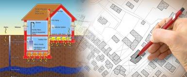 Ο κίνδυνος του αερίου ραδονίου στα σπίτια μας - απεικόνιση έννοιας με το σχέδιο χεριών πέρα από έναν φανταστικό κτηματολογικό χάρ στοκ εικόνα με δικαίωμα ελεύθερης χρήσης