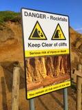 Ο κίνδυνος rockfalls καθοδηγεί την ειδοποίηση προειδοποίησης στοκ εικόνα