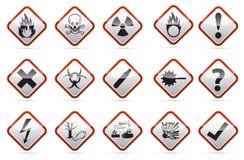 Ο κίνδυνος περιστρέφεται το τετραγωνικό κόκκινος-άσπρο στρογγυλό κουμπί γωνιών Στοκ Φωτογραφία