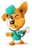 Ο κίτρινος κτηνίατρος γιατρών σκυλιών κρατά το στηθοσκόπιο Στοκ εικόνα με δικαίωμα ελεύθερης χρήσης