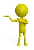 Ο κίτρινος χαρακτήρας με την παρουσίαση θέτει ελεύθερη απεικόνιση δικαιώματος